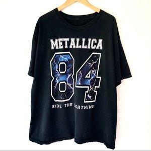 Metallica Black Oversized Ride The Lightning Tee